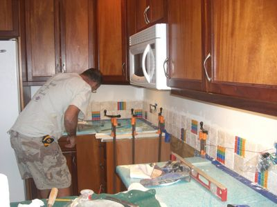 Chip installs backsplash3