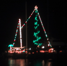 Christmas Lights on Sailboat